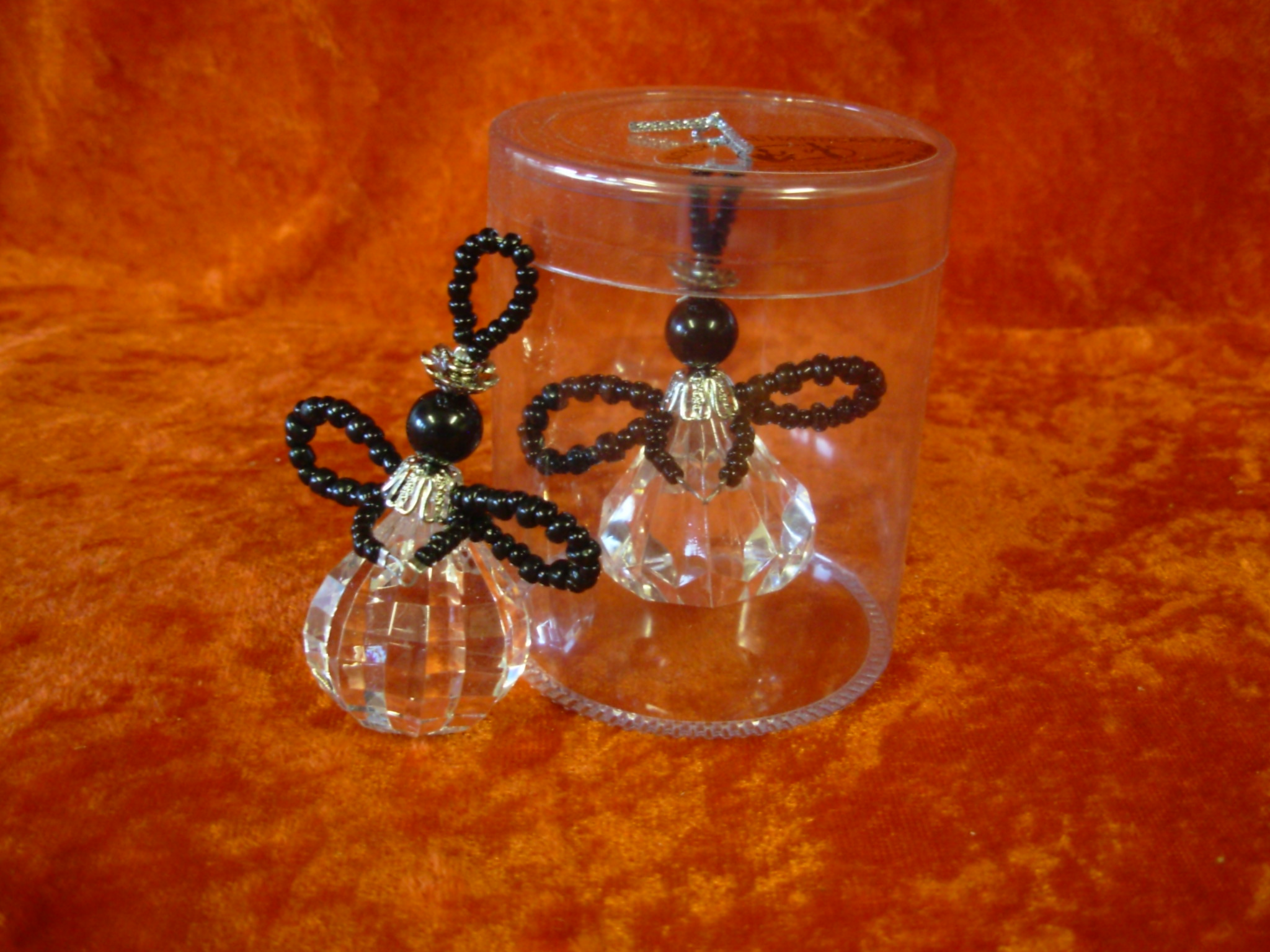 Beaded Christmas Angel: Black