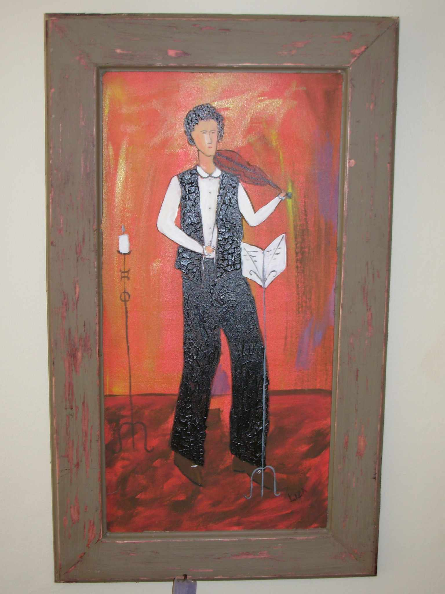Figure with violin (Framed)