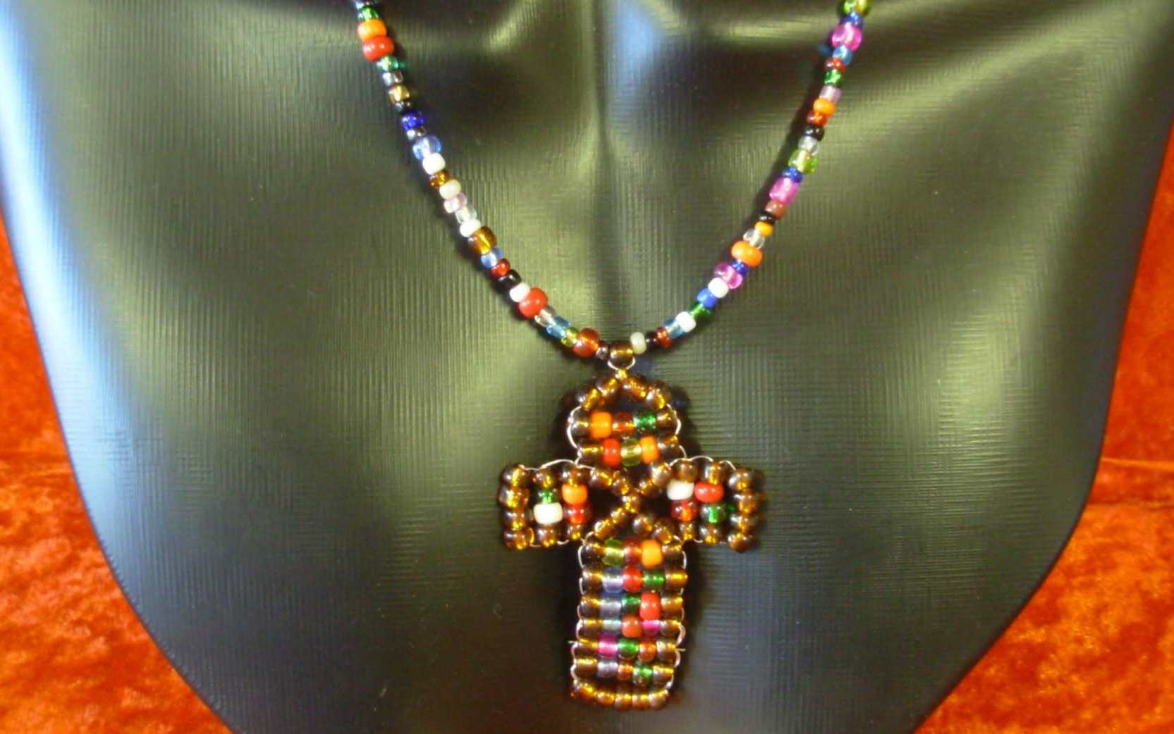 Seed Bead Necklace - Cross